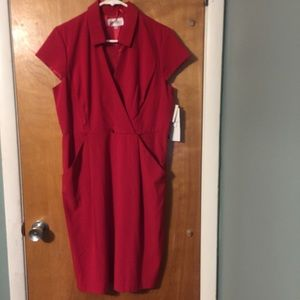 NWT Studio I red cap sleeved midi dress
